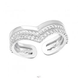 Nyitott hármas V ezüst gyűrű