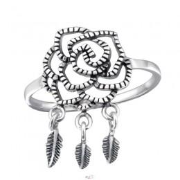 Rózsa levelekkel ezüst gyűrű