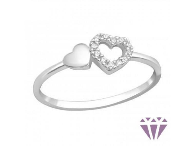 Szíves ezüst gyűrű
