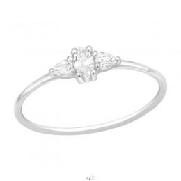 Szolid 3 fehér köves ezüst gyűrű