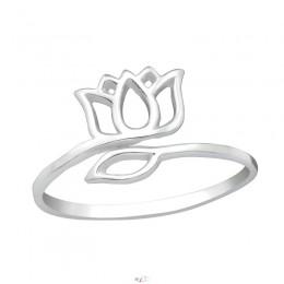Tulipános ezüst gyűrű