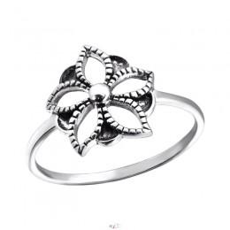 Virág mintás ezüst gyűrű
