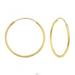 3 cm - Ezüst kicsi karika fülbevaló, 14k arannyal