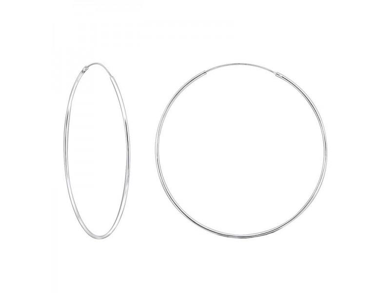 6 cm - Ezüst karika fülbevaló, sima
