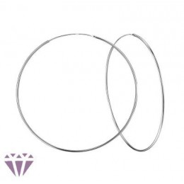 7 cm - Ezüst karika fülbevaló, vékony