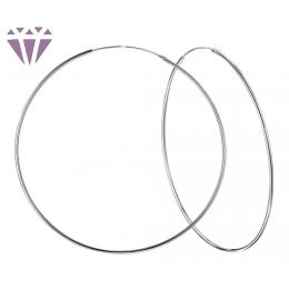 8 cm - Ezüst karika fülbevaló, vékony