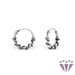 Ezüst bali mintázatú fülbevaló, egy pár