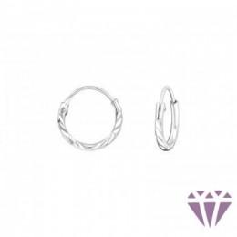 Ezüst vonalas mintázatú fülbevaló, egy pár