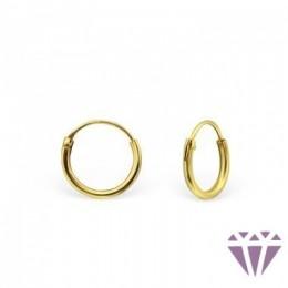 Ezüst aranyozott karika fülbevaló - 1 cm