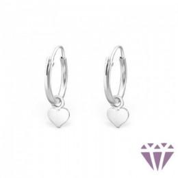 Ezüst szív formájú karika fülbevaló, egy pár