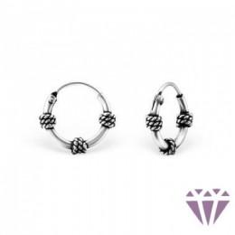 Bali mintázatú ezüst fülbevaló, egy pár