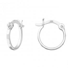 1.2 cm - Ezüst kicsi karika fülbevaló, kapcsos, szögletes