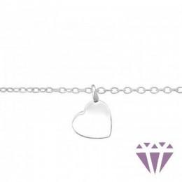 Ezüst szív formájú karkötő