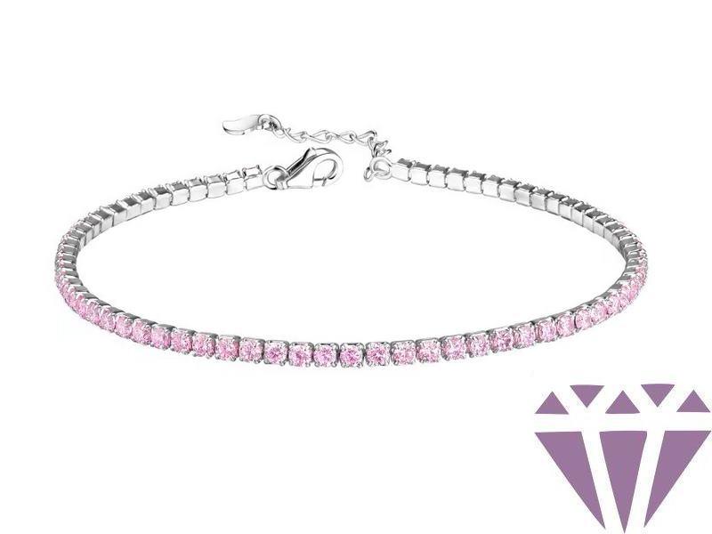 Ezüst karkötő, rózsaszín köves, 2mm