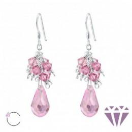 Csepp formájú ezüst fülbevaló, egy pár, pink