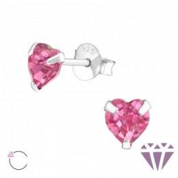 Pink szív, köves ezüst fülbevaló, egy pár