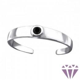 Fekete köves lábujj gyűrű, 925 ezüst