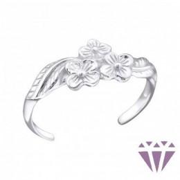 Virág mintájú ezüst lábujjgyűrű