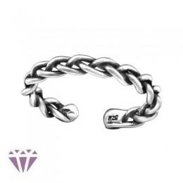 Fonott lábujj gyűrű, 925 ezüst