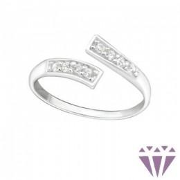 Köves, elegáns lábujj gyűrű, 925 ezüst