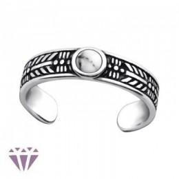 Fehér köves lábujj gyűrű, 925 ezüst