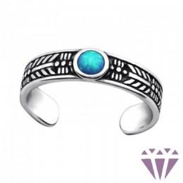 Opalos kék köves lábujj gyűrű, 925 ezüst