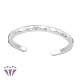 Sima lábujj gyűrű, 925 ezüst, nyomott mintás