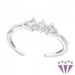 Szikrázó 3 köves lábujj gyűrű, 925 ezüst