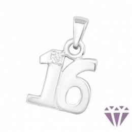 16-os szám cirkónia köves ezüst medál