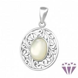 Mintázott ovális ezüst medál