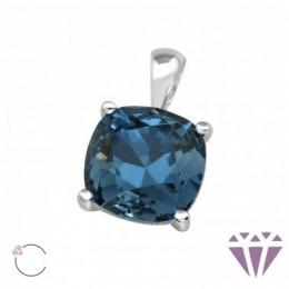 Kristály kék négyzet alakú köves ezüst medál