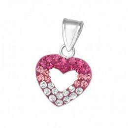 Szív köves ezüst medál, pink, fehér
