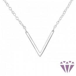 V betű formájú ezüst nyaklánc