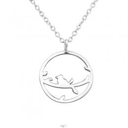 Kerek-madaras ezüst nyaklánc