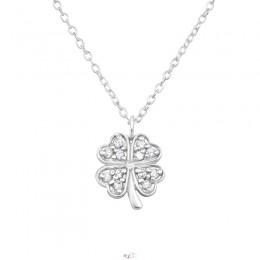 4 levelű lóhere ezüst nyaklánc, fehér köves