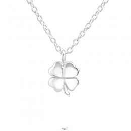 4 levelű lóhere ezüst nyaklánc, pure