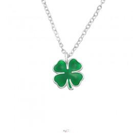 4 levelű lóhere ezüst nyaklánc, zöld