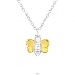 Méh 18k aranyozott ezüst nyaklánc