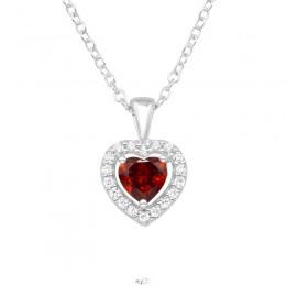 Piros szíves szikrázó ezüst nyaklánc
