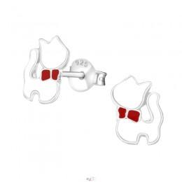 Fehér cicás ezüst fülbevaló