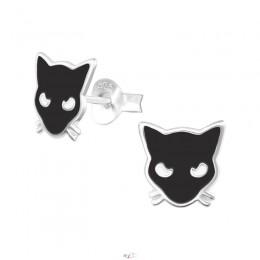 Fekete cicás ezüst fülbevaló