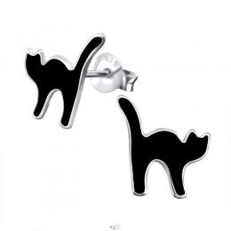 Fekete macskás ezüst fülbevaló
