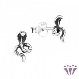 Kobra stift ezüst fülbevaló