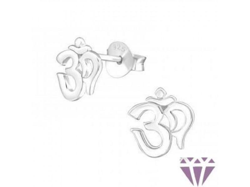 Ezüst Ohm szimbólumú fülbevaló, egy pár
