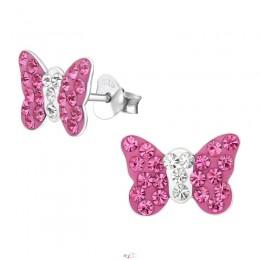 Pink köves pillangós ezüst stift fülbevaló