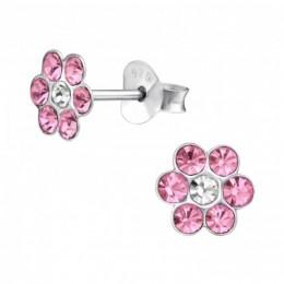 Pink köves virágos stift ezüstfülbevaló