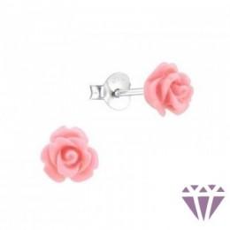 Rózsa virágos stift fülbevaló