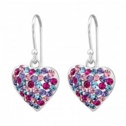 Sokköves szív medálos ezüst fülbevaló, egy pár