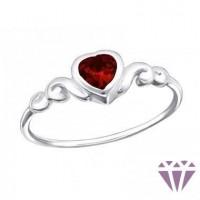 Valentin napi ezüst gyűrű, piros szíves