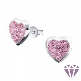 Szíves köves ezüst fülbevaló, egy pár, pink és fehér